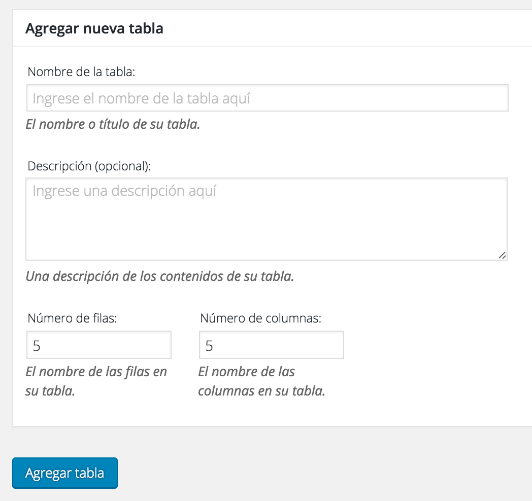 Crear tabla wordpress con tablepress 1