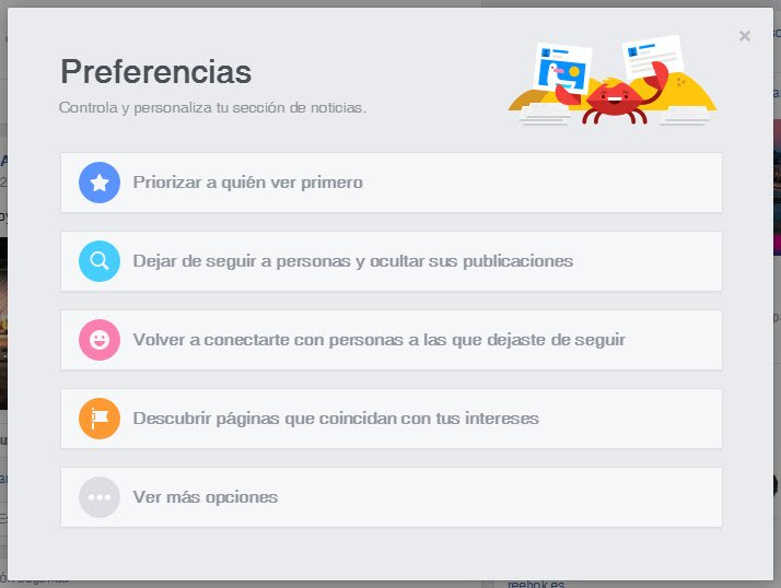 Editar preferencias noticias facebook